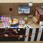 Schukarton mit elektrischen Schaltungen